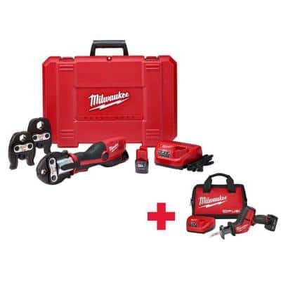 M12 12-Volt Lithium-Ion Cordless Force Logic Press Tool Kit (3 Jaws included)/ W Free M12 FUEL Hackzall Kit