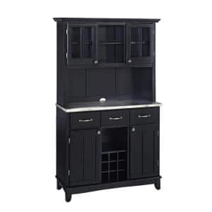 Black and Stainless Steel Buffet with Hutch