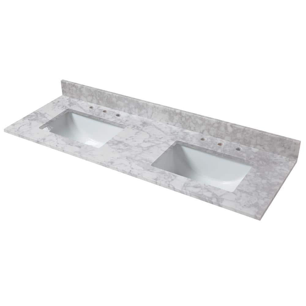 Home Decorators Collection 73 In W X 22 In D Marble Double Trough Sink Vanity Top In Carrara 74108 The Home Depot
