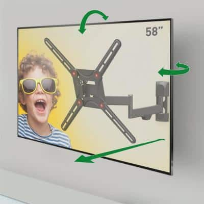 """Barkan 29"""" to 56"""" Full Motion - 4 Movement Flat / Curved TV Wall Mount, Black, Patented, Touch & Tilt, Screen Leveling"""
