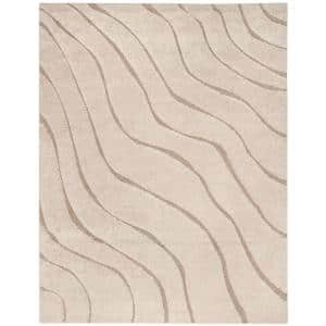 Florida Shag Cream/Beige 8 ft. x 10 ft. Striped Solid Area Rug
