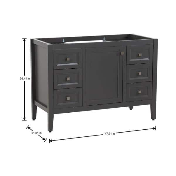 Moen Darcy 48 In W X 22 In D Bath Vanity Cabinet Only In Shale Gray Dc48 Sy The Home Depot