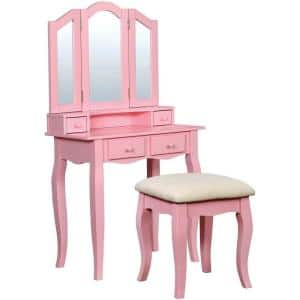 Janelle Transitional Pink Wooden Vanity Set