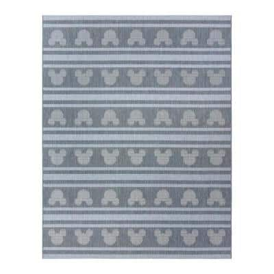 Mickey Mouse Steel/Ash 8 ft. x 10 ft. Striped Indoor/Outdoor Area Rug