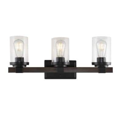 Bungalow 22.75 in. 3-Light Oil Rubbed Bronze Iron/Seeded Glass Rustic Farmhouse LED Vanity Light