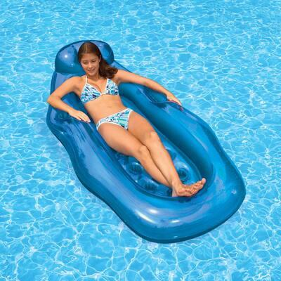 Blue Riviera Wet/Dry Sun Swimming Pool Float Lounge