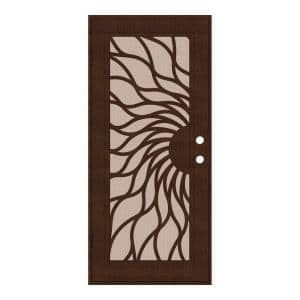 36 in. x 80 in. Sunfire Copperclad Right-Hand Surface Mount Aluminum Security Door with Desert Sand Perforated Screen