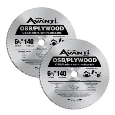 6-1/2 in. x 140-Tooth OSB/Plywood Circular Saw Blade (2-Pack)