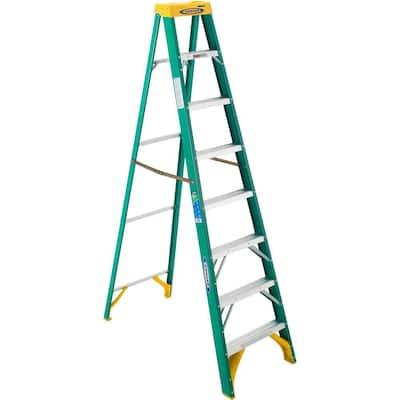 8 ft. Fiberglass Step Ladder with 225 lb. Load Capacity Type II Duty Rating