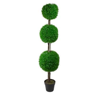 60 in. Triple Sphere Artificial Boxwood Topiary Potted Plant