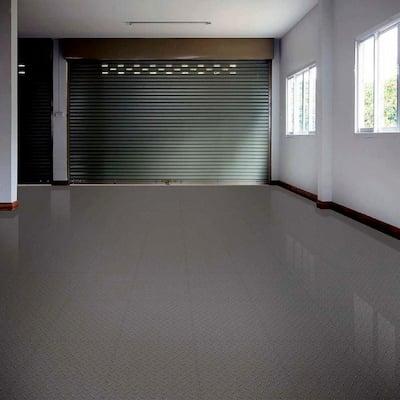 Diamond Plate 1.71 ft. Width x 1.71 ft. Length Dark Gray PVC Garage Flooring