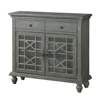 Joplin Texture Grey 2-Drawer 2-Door Cupboard