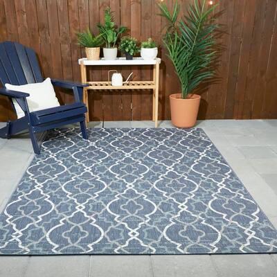 Trellis Blue 8 ft. x 10 ft. Abstract Indoor/Outdoor Area Rug