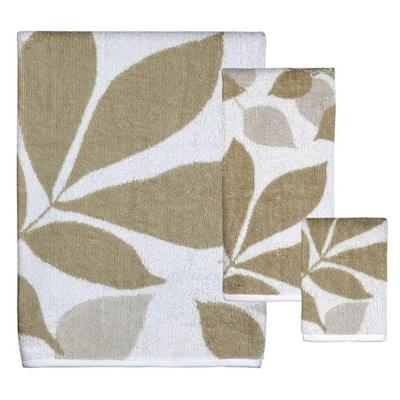 Shadow 3-Piece White/Taupe/Grey Floral Bath Towel Set