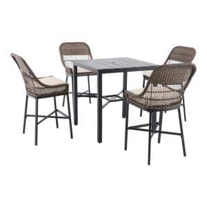 Beacon Park 5-Piece Brown Wicker Outdoor Patio High Dining Set with CushionGuard Almond Tan Cushions