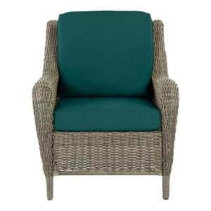 Cambridge Gray Wicker Outdoor Patio Lounge Chair with CushionGuard Malachite Green Cushions