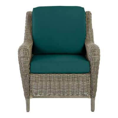 Cambridge Gray Wicker Outdoor Patio Lounge Chair with CushionGuard Malachite Green Cushions