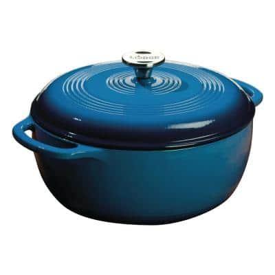 Enamelware 6 qt. Round Cast Iron Dutch Oven in Blue with Lid