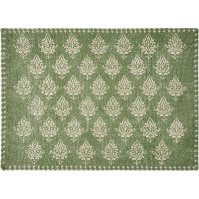 Fairytale 19 in. x 13 in. Damask Green Motif Bordered Cotton Placemats (Set of 4)