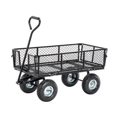 4 cu. ft. Heavy-Duty Black Steel Utility Garden Cart