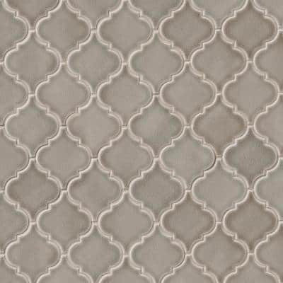 Dove Gray Arabesque 10-1/2 in. x 15-1/2 in. x 8 mm Glossy Ceramic Mesh-Mounted Mosaic Wall Tile (11.7 sq. ft. / case)