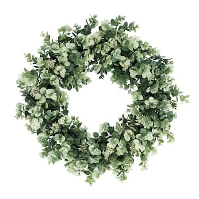 24 in. Artificial Eucalyptus Floral Spring Wreath