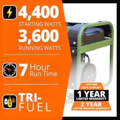 4,000-Watt/3,500-Watt Recoil Start Tri Fuel Portable Generator, Runs on Natural Gas, Gasoline, or Propane