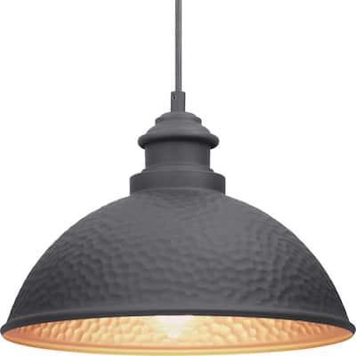 Englewood Collection 1-Light Textured Black  Farmhouse Outdoor Hanging Lantern Light