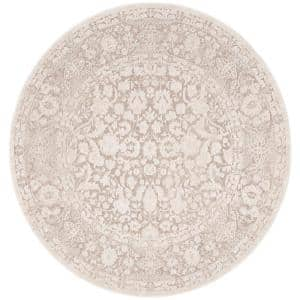 Reflection Beige/Cream 5 ft. x 5 ft. Round Distressed Floral Area Rug