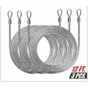 1/8 in. x 12 ft. Stainless Steel Vinyl Coated Extension Wire Rope W/Looped Ends for Triangle Sun Shade Sails (3-Pieces)