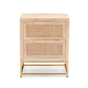 2-Sliding Doors Bilson Natural with Gold Base Rattan Cabinet