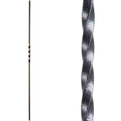 Twist and Basket 44 in. x 0.5 in. Silver Vein Single Twist Hollow Wrought Iron Baluster