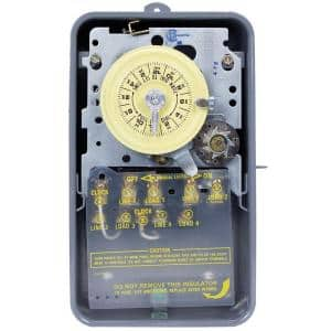 T1400 Series 40 Amp 24-Hour Mechanical Time Switch with Skipper - Carryover and Outdoor Enclosure - Gray