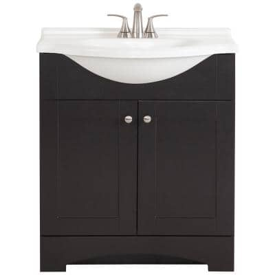 Del Mar 31 in. W Bath Vanity in Espresso with Vanity Top in White and White Sink and MOEN Faucet  (5-piece)