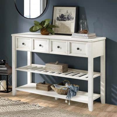 48 in. Solid Wood White 2-Drawer Buffet