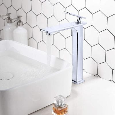 8.4 in. Single Hole Single-Handle Lever Vessel Bathroom Faucet in Chrome