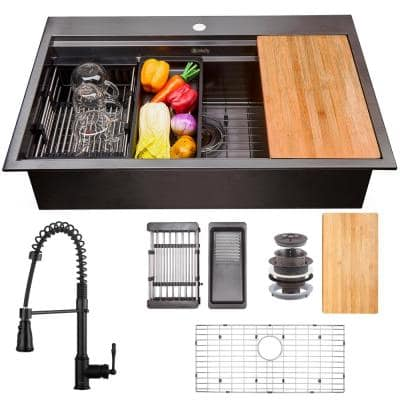 All-in-One Matte Black Finished Stainless Steel 33 in. x 22 in. Single Bowl Drop-in Kitchen Sink with Spring Neck Faucet