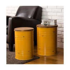 Yellow Modern Metal Storage Accent Table or Stool with Solid Wood Lid (Set of 2)