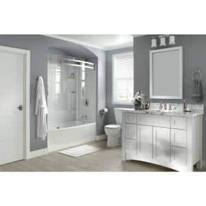 Classic 400 Curve 60 in. W x 62 in. H Sliding Frameless Tub Door in Stainless