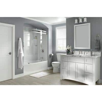 Classic 400 Curve 60 in. W x 60 in. H Three Piece Direct to Stud Tub Surrounds in High Gloss White