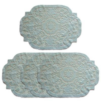 Medallion 20 in. x 14 in. Blues Polyester Placemats (Set of 4)
