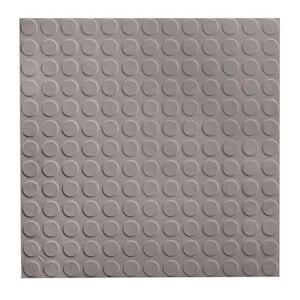 Low Profile Circular Design 19.69 in. x 19.69 in. Slate Rubber Tile