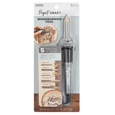 Project Craft Electric Handheld Woodburning Tool Pen with 5 Tips for Wood Crafts and Signs