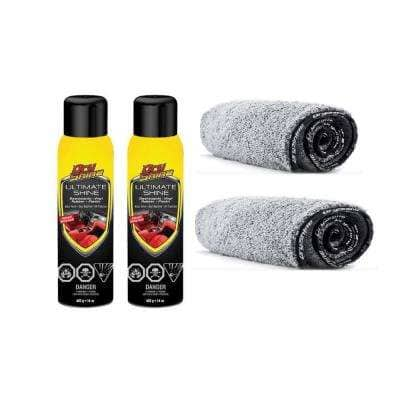 Ultimate Shine 14 oz. Car Interior Cleaner and Protectant plus 2 in 1 Microfiber Towels (2-Pack)