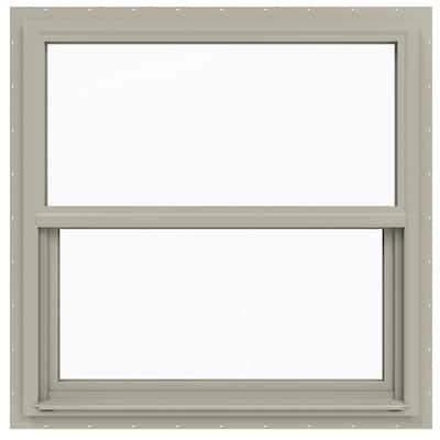 36 in. x 36 in. V-4500 Series Desert Sand Single-Hung Vinyl Window with Fiberglass Mesh Screen