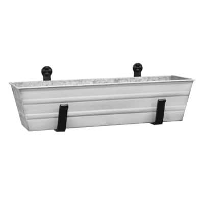 22 in. W Cape Cod White Small Galvanized Steel Flower Box Planter With Wall Brackets