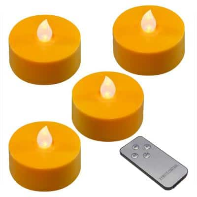 Battery Orange Operated Extra Large Tea Lights with Remote Control and 2-Timers (4-Count)