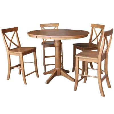 Distressed Oak 48 in. Oval Dining Table with 4-Counter-Height Stools (5-Piece)