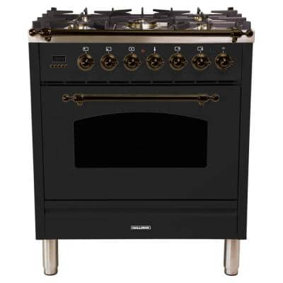 30 in. 3.0 cu. ft. Single Oven Italian Gas Range with True Convection, 5 Burners, LP Gas, Bronze Trim in Glossy Black