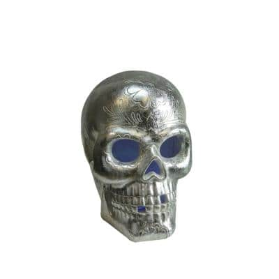 14 in. LED Silver Metallic Day of the Dead Skull